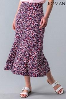 Roman Multi Ditsy Floral Flute Hem Skirt