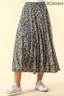 Roman Multi Ditsy Floral Burnout Midi Skirt