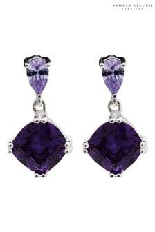 Simply Silver Purple Sterling Silver 925 Cubic Zirconia Earrings