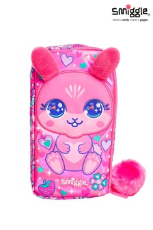 Smiggle Pink Bunny Budz Character Two Pocket Pencil Case