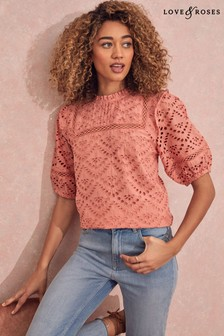Love & Roses Orange Lace insert Frill Detail Blouse