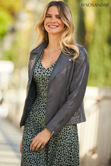 Sosandar Charcoal Leather Biker Jacket