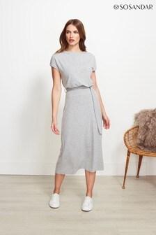 Sosandar Grey Super Soft Premium Jersey Midi Dress