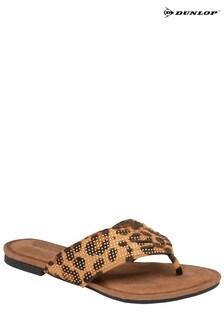 Dunlop leopard Ladies' Toe Post Sandals