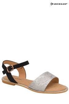 Dunlop Silver/ Black Ladies' Open Toe Sandals