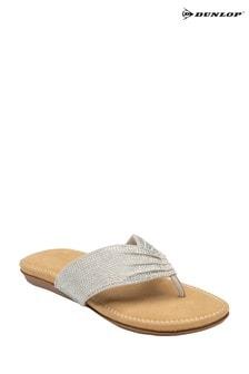 Dunlop Silver Ladies' Toe Post Sandals