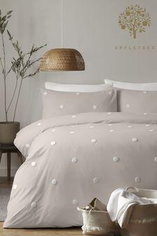 Appletree Natural Dot Garden Duvet Cover and Pillowcase Set
