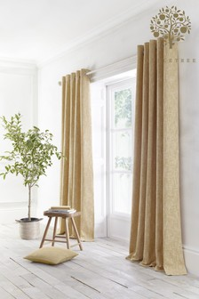 Appletree Ochre Yellow Boucle Eyelet Curtains