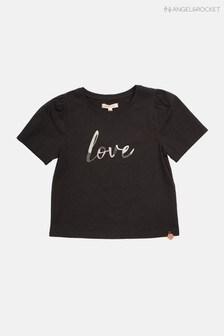 Angel & Rocket Black Tia Love Slogan T-Shirt