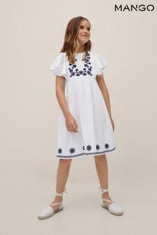 Mango White Embroidered Cotton Dress