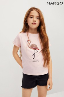 Mango Pink Rhinestone Print T-Shirt