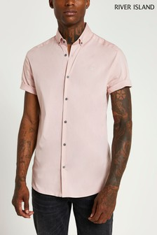 River Island Pink Light Embroidered Muscle Shirt