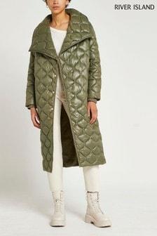 River Island Plus Green Light Onion Quilt Padded Jacket