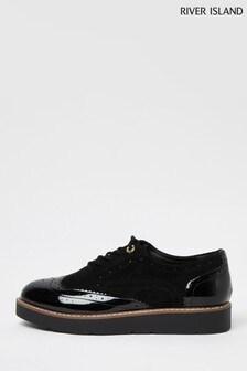 River Island Black Brogue Lace-Up Shoes