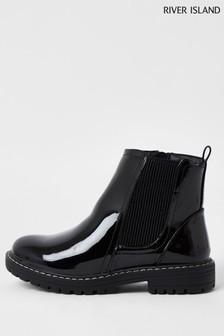 River Island Black Patent Chelsea Boots