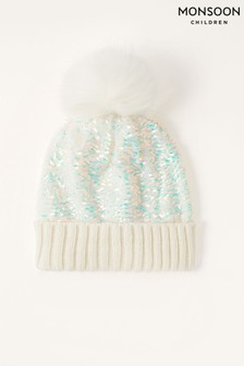 Monsoon Pink Dolly Sequin Pom Pom Hat