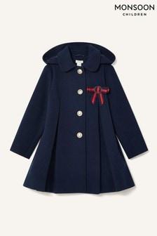 Monsoon Blue Bow Brooch Swing Coat