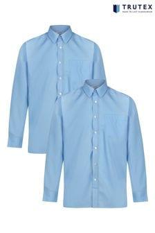 Trutex Blue Long Sleeve Non Iron Shirt 2 Pack
