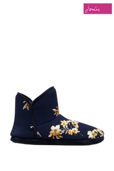 Joules Blue Faux Fur Lined Slippers With Rubber Sole