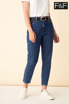 F&F Black Indigo Belted Mom Jeans