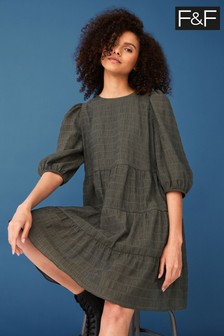 F&F Green Textured Tiered Mini Dress