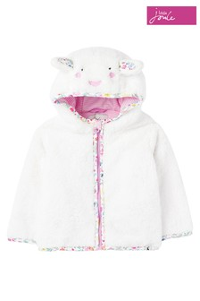 Joules White Cuddle Zip-Through Character Fleece