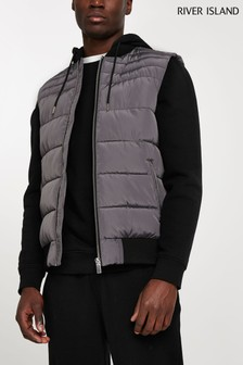 River Island Grey Removable Hooded Gilet