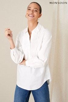Monsoon White Evalina Pintuck Poplin Shirt