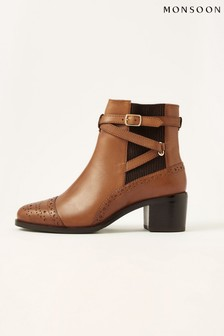 Monsoon Tan Bethan Leather Brogue Boots