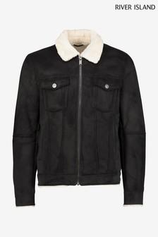 River Island Black/Ecru Borg Lined Western Jacket