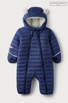 The White Company Baby Blue Quilted Pramsuit