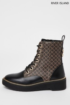 River Island Brown Dark Lace-Up Chunky Boots