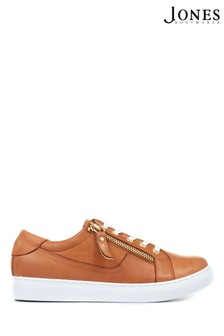 Jones Bootmaker Ladies Brown Padova Leather Lace-Up Trainers