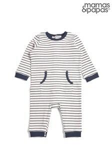 Mamas & Papas Grey Multi Stripe Ribbed Romper
