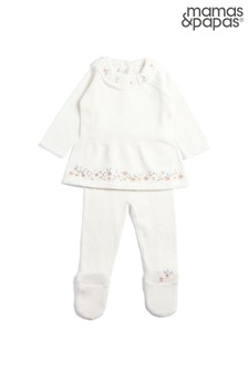 Mamas & Papas White Knitted Floral 2 Piece Set