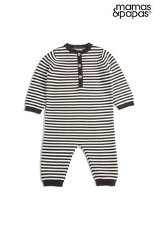 Mamas & Papas Grey Multi Knit Stripe Romper