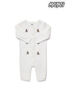 Mamas & Papas White Embroidered Bears Romper