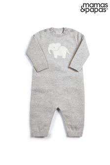 Mamas & Papas Grey Knitted Character Romper