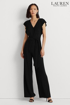 Lauren Ralph Lauren Womens Black Addelston Frill Sleeve Jumpsuit