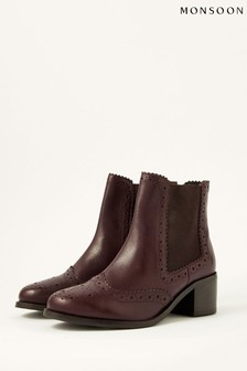 Monsoon Layla Brogue Leather Ankle Boots