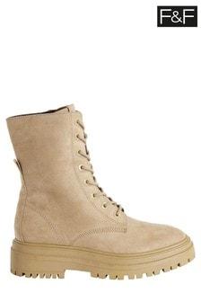 F&F Natural Stone Midi Lace-Up Boots
