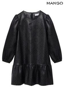 Mango Die-Cut Faux Leather Dress