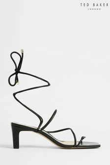 Ted Baker Black Teffip Square Toe Spaghetti Strap Mid Heeled Sandals