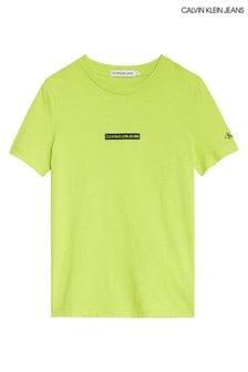 Calvin Klein Jeans Green Flock Logo Top