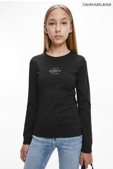 Calvin Klein Jeans Older Girls Black Monogram Outline Long Sleeve T-Shirt