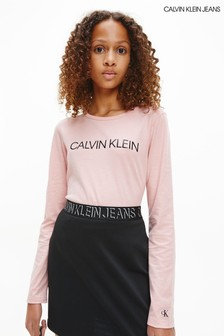 Calvin Klein Jeans Pink Institutional Long Sleeve T-Shirt
