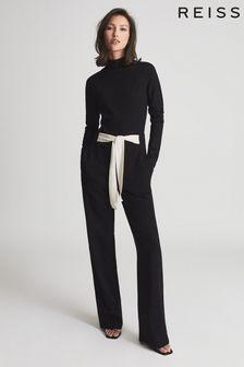 Reiss Black Ada Open Back Jumpsuit