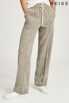 Reiss Mink Joey Textured Wide Leg Trousers