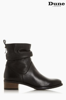 Dune London Black Pagerss 2 Ruched Low Block Heel Ankle Boots