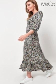 M&Co Blue Floral Print Wrap Dress
